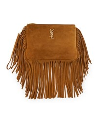 Saint Laurent Monogram Suede Fringe Pouch Light Ocre