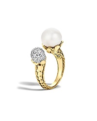 John Hardy Dot 18K Yellow Gold Diamond Pave Ring With Cultured Freshwater Pearl
