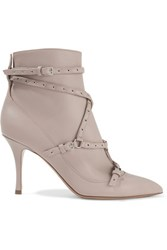 Valentino Eyelet Embellished Leather Ankle Boots Taupe