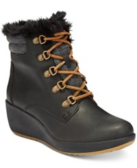 Sperry Women's Luca Peak Cold Weather Lace Up Wedge Ankle Boots Women's Shoes Black