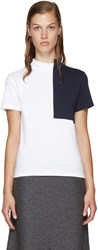 Jacquemus White And Navy Square Collar T Shirt