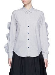 Toga Archives Cutout Ruffle Sleeve Stripe Poplin Shirt Multi Colour