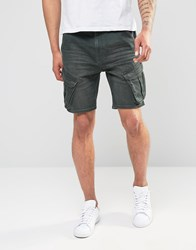 Asos Slim Fit Denim Shorts With Cargo Styling In Khaki Green