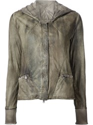 Giorgio Brato Worn Effect Hooded Jacket Green