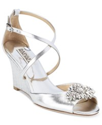 Badgley Mischka Cabina Embellished Crisscross Strap Wedge Evening Sandals Women's Shoes Silver