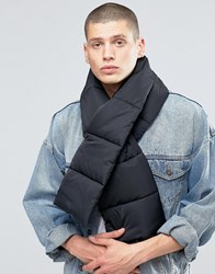 Asos Quilted Scarf In Black Black
