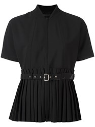 Diesel Black Gold Belted Accordion Pleat Top Black