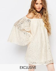 Reclaimed Vintage Off Shoulder Dress With Flute Sleeves In Nude Lace Nude Beige