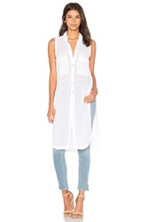 Bobi Gauze Button Up Sleeveless Mini Dress White