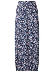Miss Selfridge Petite Ditsy Maxi Skirt Mid Blue