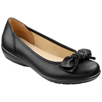 Hotter Made In England Jewel Leather Ballerina Pumps Black