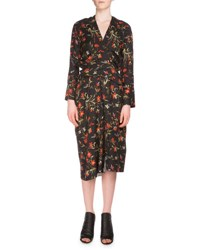 Balenciaga Long Sleeve Floral Print Wrap Dress Black Noir