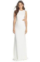 Jay Godfrey Cutout Side Stretch Crepe Gown Light Ivory