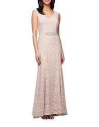 Alex Evenings Plus Embellished Waist Lace Gown Cameo