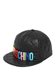 Moschino Logo Quilted Leather Baseball Hat Black