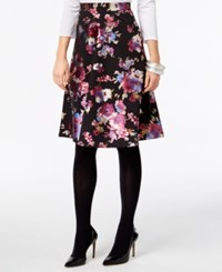 Eci Floral Print Pull On Skirt Black Base
