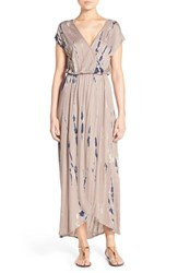 Fraiche By J Women's Tie Dye Faux Wrap Maxi Dress Taupe Special