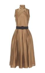 Martin Grant Wrap Dress With Pleated Skirt Gold