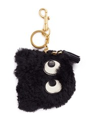 Anya Hindmarch 'Ghost' Shearling Coin Pouch Black