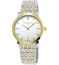 Frederique Constant Fc200s1s33b3 Slimline Yellow Gold Plated And Stainless Steel Watch