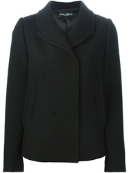 Dolce And Gabbana Short Double Breasted Coat Black