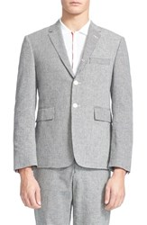 Men's Thom Browne Trim Fit Mixed Gingham Linen And Cotton Suit Jacket