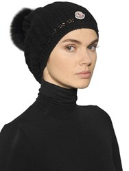 Moncler Wool Knit Hat With Fox Fur Pom Pom