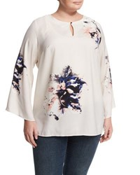 Vince Camuto Duet Bell Sleeve Floral Print Blouse Birch Tan