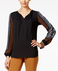 Alfani Petite Printed Sleeve Blouse Only At Macy's Abstack Houndstooth