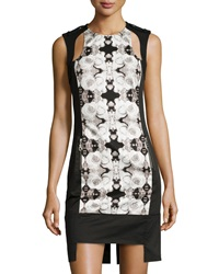L.A.M.B. Rose Photo Print Cutout Dress White Black