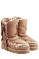 Mou Eskimo Short Sheepskin Boots With Fringe Camel