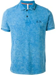 Sun 68 Washed Colour 'Small Righe Fluo' Polo Shirt Blue