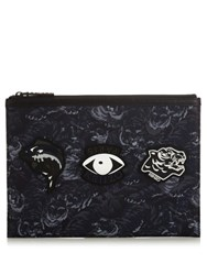 Kenzo Badge Embellished Nylon Pouch Black Multi