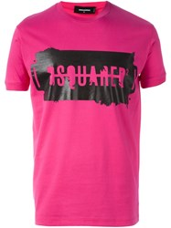 Dsquared2 Logo Print T Shirt Pink And Purple