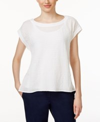 Eileen Fisher Short Sleeve Textured Swing Top White