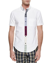 Band Of Outsiders Woven Button Down Shirt With Multicolored Placket White