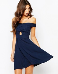 Love Off Shoulder Wrap Front Skater Dress With Box Pleat Skirt Navy