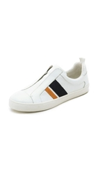 Derek Lam 10 Crosby Laurel Slip On Sneakers White Orange Navy