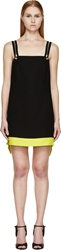 Versace Black And Lime Colorblock Zip Strap Dress