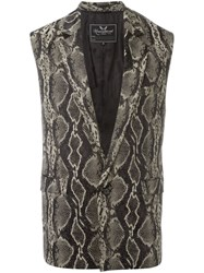 Unconditional Snakeskin Effect Waistcoat Black