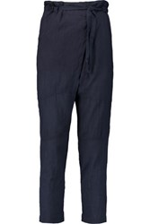 Sea Wrap Effect Crinkled Cotton Tapered Pants Midnight Blue