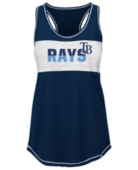 Majestic Women's Tampa Bay Rays Gametime Glitz Tank Top Navy