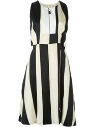 Sportmax Front Zip Striped Dress Nude And Neutrals