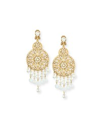 Oscar De La Renta Filigree Disc Drop Chandelier Earrings Gold