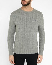 Polo Ralph Lauren Grey Cable Knit Cotton Round Neck Sweater