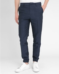 Kenzo Navy Cotton Linen Elastic Cuff Trousers