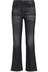 7 For All Mankind High Rise Cropped Bootcut Jeans Dark Gray