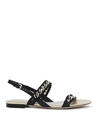 Reiss Flat Slingback Sandals Chiara Woven Chain Black