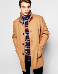 Produkt Funnel Neck Wool Overcoat Camel