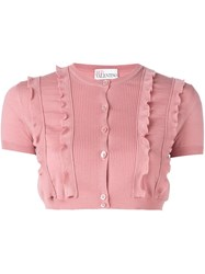 Red Valentino Ruffle Trim Cropped Cardigan Pink And Purple